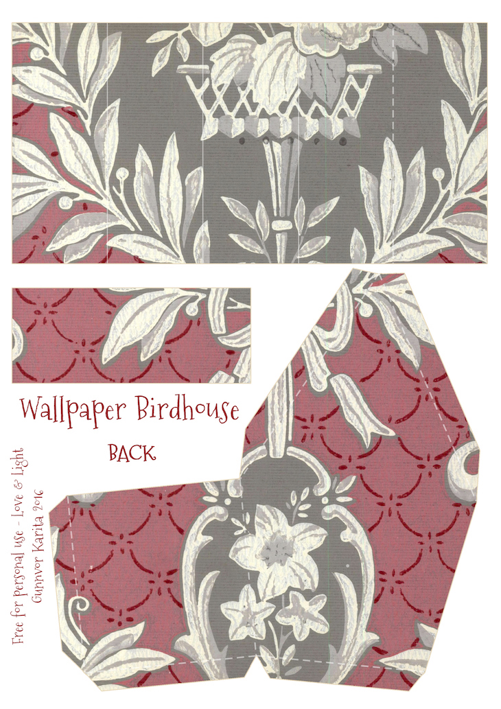 Wings of Whimsy: Wallpaper Birdhouse No 13 Back #vintage #ephemera #freebie #printable #wallpaper #bird #house