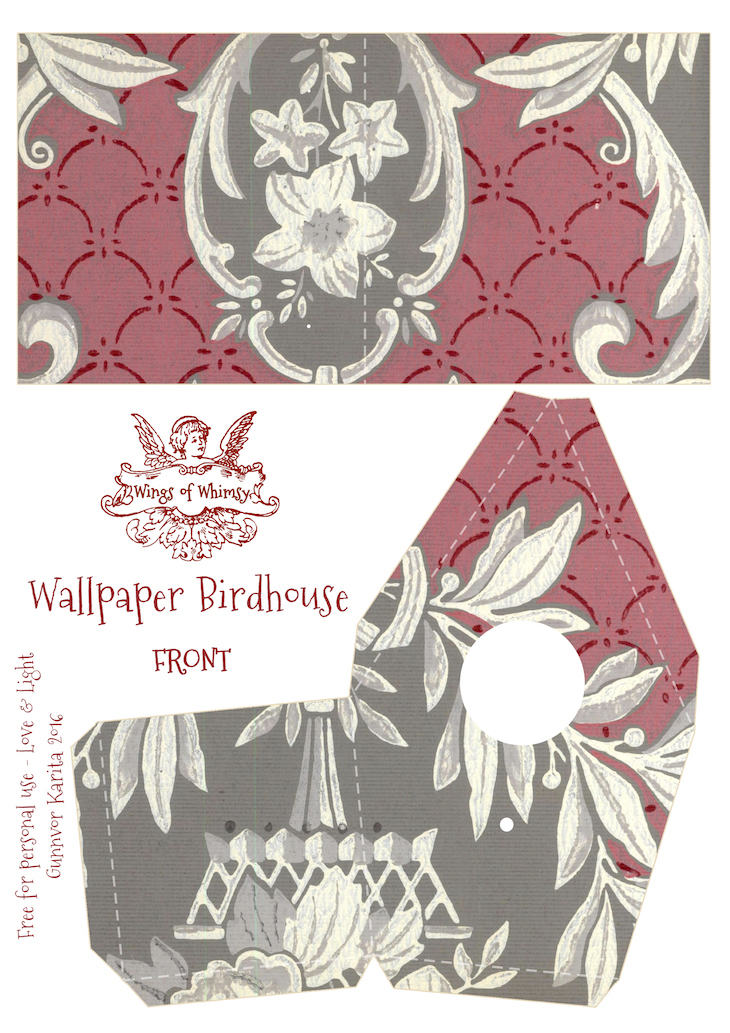 Wings of Whimsy: Wallpaper Birdhouse No 13 Front #vintage #ephemera #freebie #printable #wallpaper #bird #house