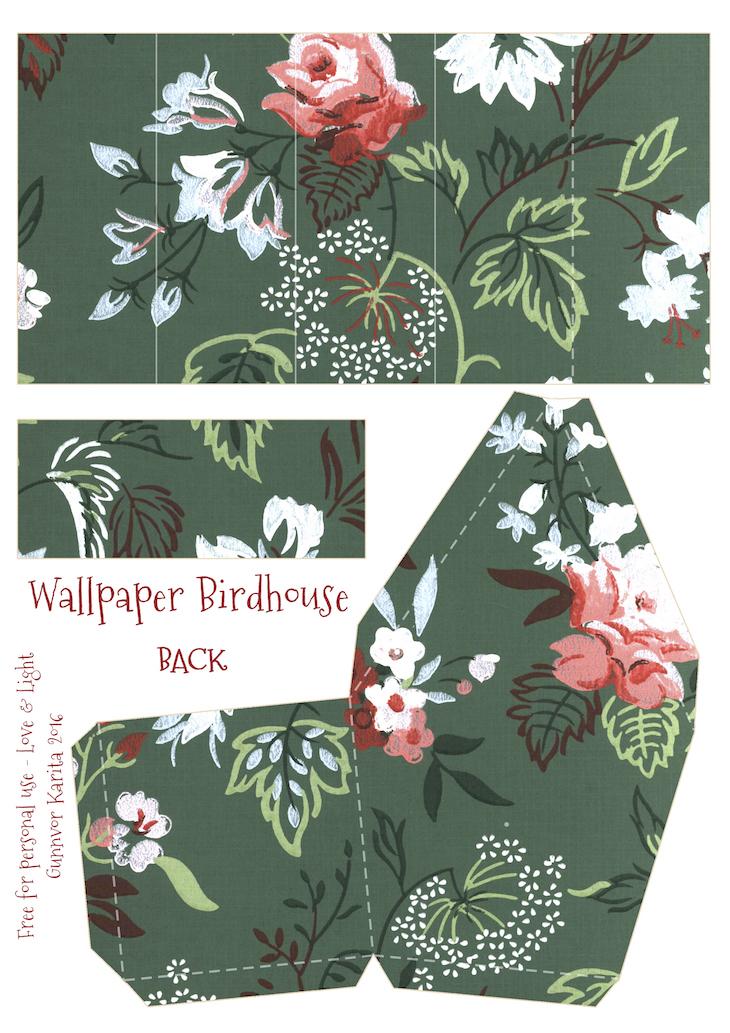 Wings of Whimsy: Wallpaper Birdhouse No 14 Back #vintage #ephemera #freebie #printable #wallpaper #bird #house