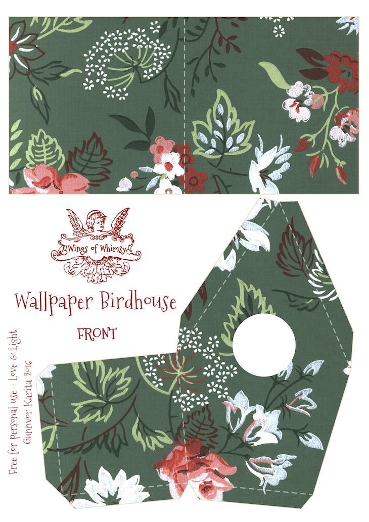 Wings of Whimsy: Wallpaper Birdhouse No 14 Front #vintage #ephemera #freebie #printable #wallpaper #bird #house