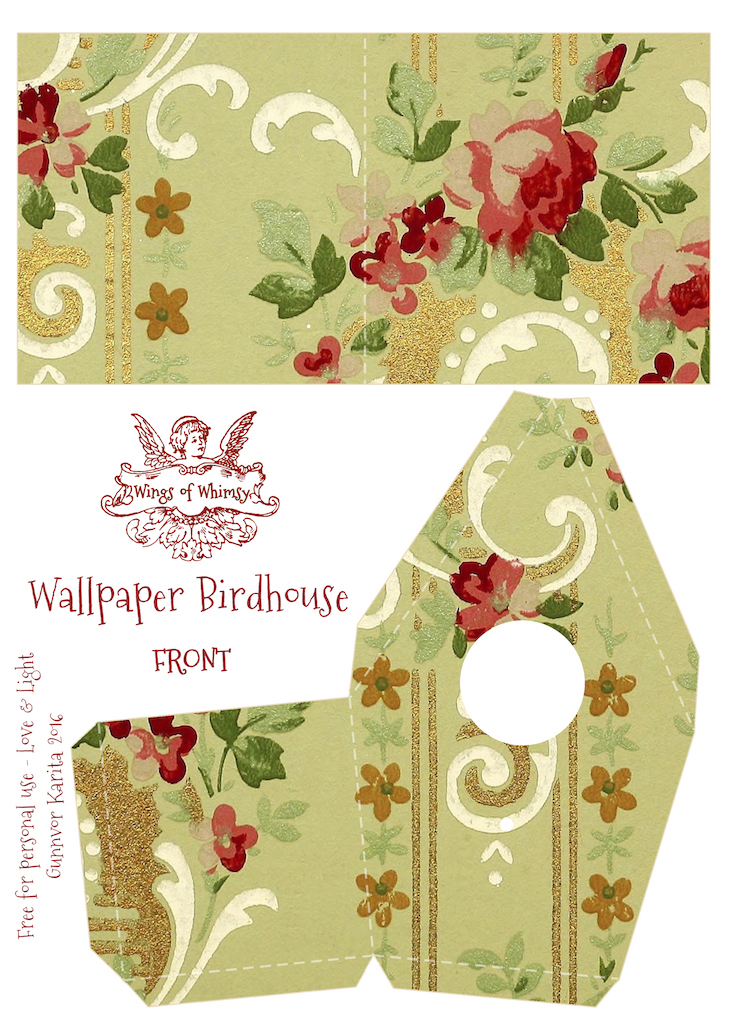 Wings of Whimsy: Wallpaper Birdhouse No 15 Front #vintage #ephemera #freebie #printable #wallpaper #bird #house