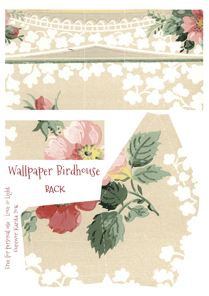 Wings of Whimsy: Wallpaper Birdhouse No 16 Back #vintage #ephemera #freebie #printable #wallpaper #bird #house