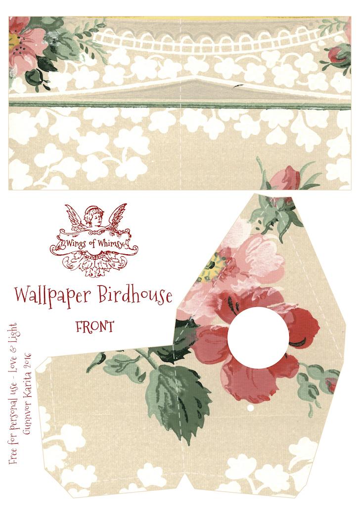 Wings of Whimsy: Wallpaper Birdhouse No 16 Front #vintage #ephemera #freebie #printable #wallpaper #bird #house