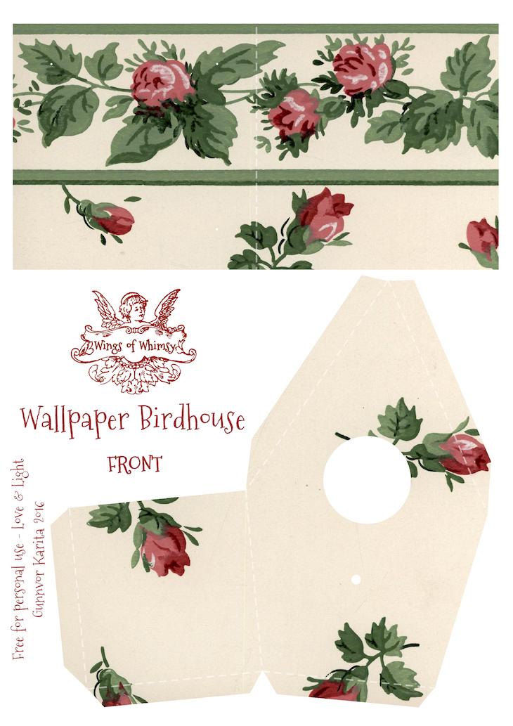 Wings of Whimsy: Wallpaper Birdhouse No 4 Front #vintage #ephemera #freebie #printable #wallpaper #bird #house kopi