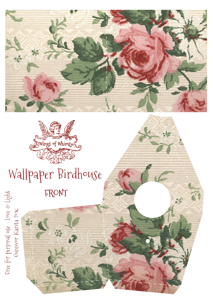 Wings of Whimsy: Wallpaper Birdhouse No 5 Front #vintage #ephemera #freebie #printable #wallpaper #bird #house kopi