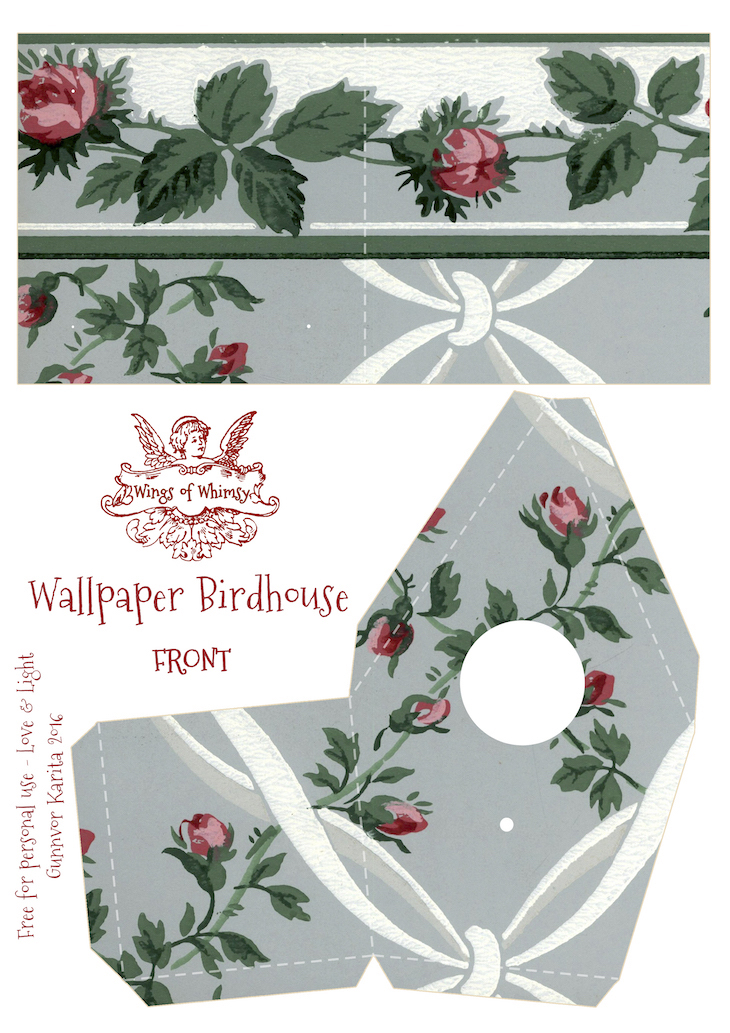 Wings of Whimsy: Wallpaper Birdhouse No 6 Front #vintage #ephemera #freebie #printable #wallpaper #bird #house kopi