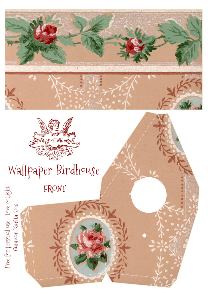 Wings of Whimsy: Wallpaper Birdhouse No 7 Front #vintage #ephemera #freebie #printable #wallpaper #bird #house kopi