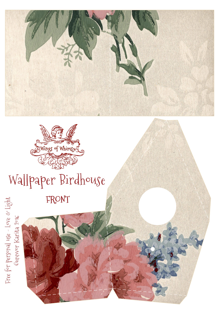 Wings of Whimsy: Wallpaper Birdhouse No 8 Front #vintage #ephemera #freebie #printable #wallpaper #bird #house kopi