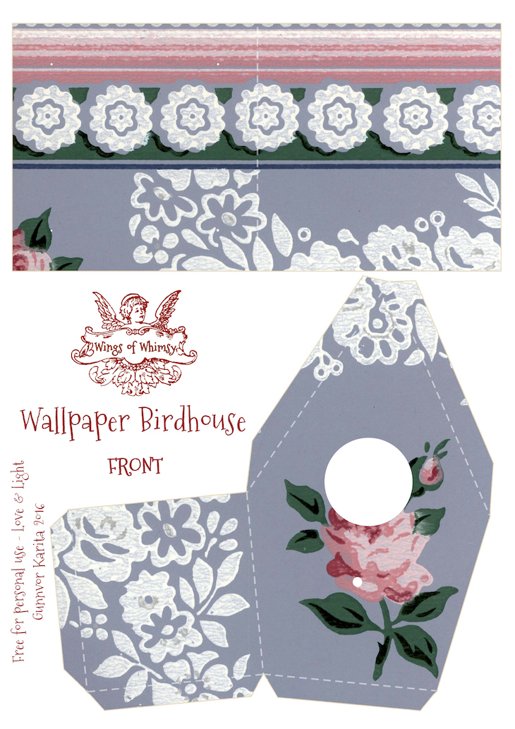 Wings of Whimsy: Wallpaper Birdhouse No 9 Front #vintage #ephemera #freebie #printable #wallpaper #bird #house kopi