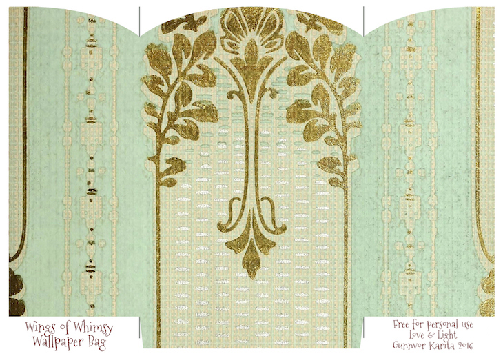 graphic regarding Printable Gift Bags called Classic Wallpaper Present Luggage No 2 of 6 Wings of Whimsy