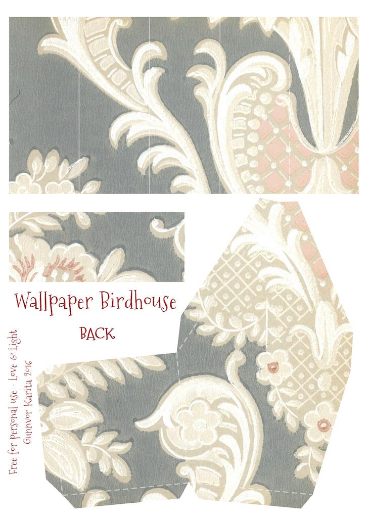 Wings of Whimsy: Wallpaper Birdhouse No 17 Back #vintage #ephemera #freebie #printable #wallpaper #bird #house