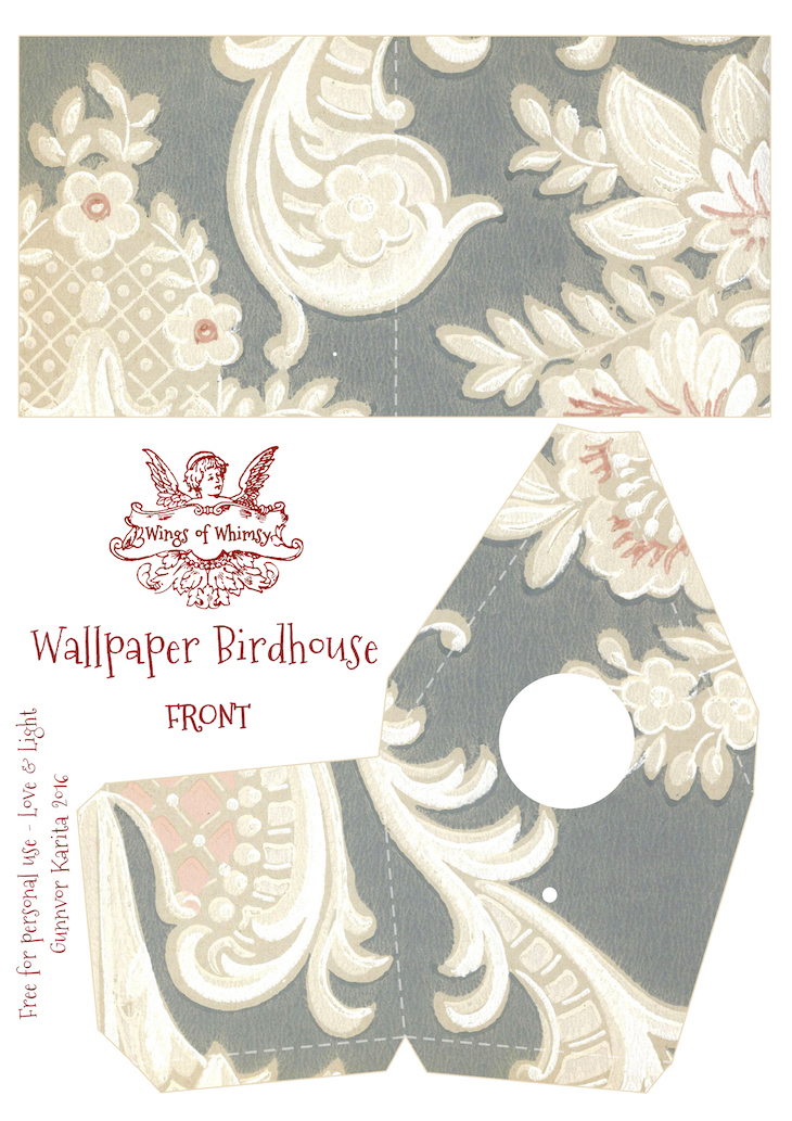 Wings of Whimsy: Wallpaper Birdhouse No 17 Front #vintage #ephemera #freebie #printable #wallpaper #bird #house