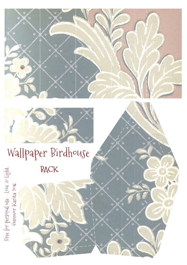 Wings of Whimsy: Wallpaper Birdhouse No 18 Back #vintage #ephemera #freebie #printable #wallpaper #bird #house