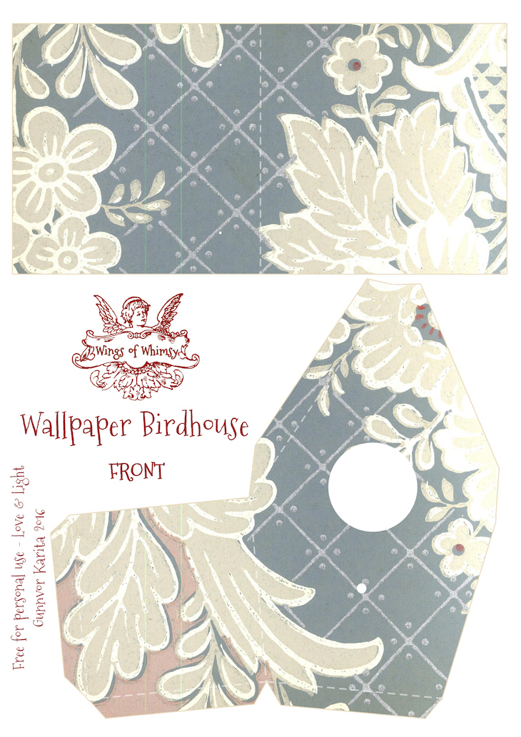 Wings of Whimsy: Wallpaper Birdhouse No 18 Front #vintage #ephemera #freebie #printable #wallpaper #bird #house