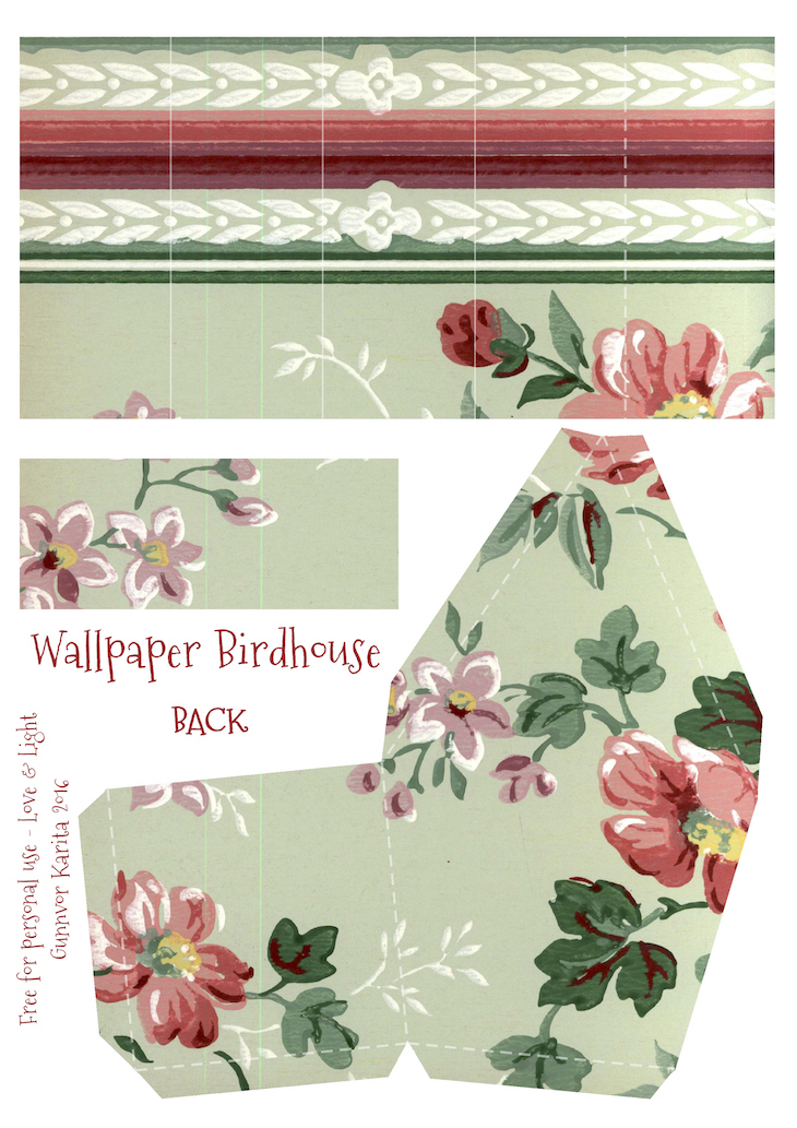 Wings of Whimsy: Wallpaper Birdhouse No 19 Back #vintage #ephemera #freebie #printable #wallpaper #bird #house