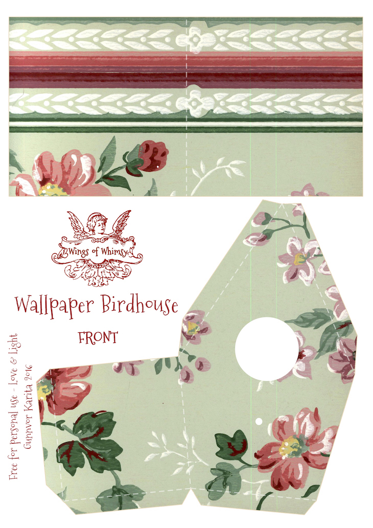 Wings of Whimsy: Wallpaper Birdhouse No 19 Front #vintage #ephemera #freebie #printable #wallpaper #bird #house