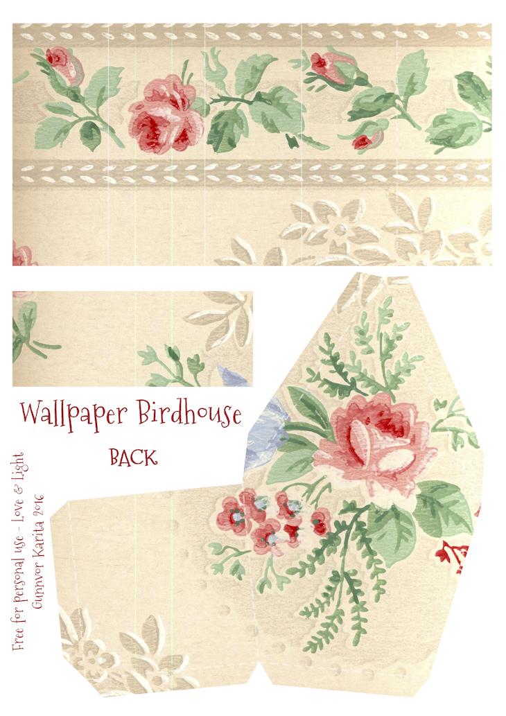 Wings of Whimsy: Wallpaper Birdhouse No 20 Back #vintage #ephemera #freebie #printable #wallpaper #bird #house