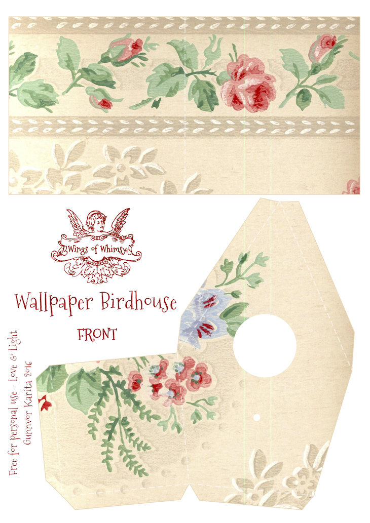 Wings of Whimsy: Wallpaper Birdhouse No 20 Front #vintage #ephemera #freebie #printable #wallpaper #bird #house