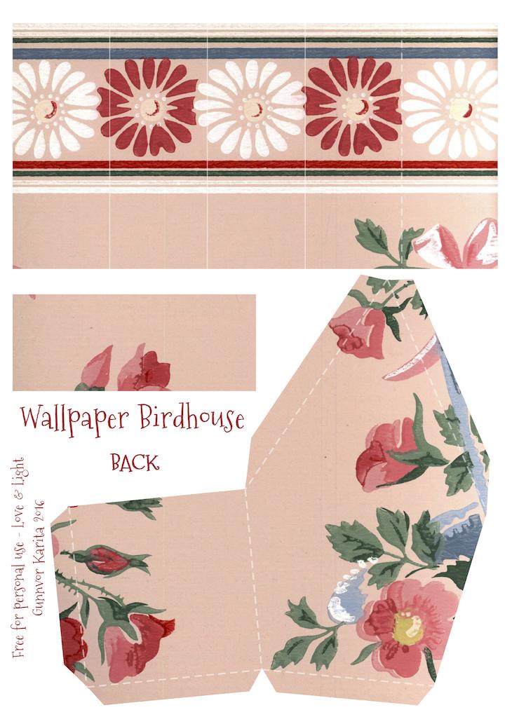 Wings of Whimsy: Wallpaper Birdhouse No 21 Back #vintage #ephemera #freebie #printable #wallpaper #bird #house