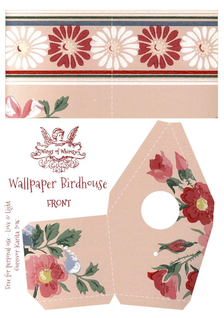 Wings of Whimsy: Wallpaper Birdhouse No 21 Front #vintage #ephemera #freebie #printable #wallpaper #bird #house