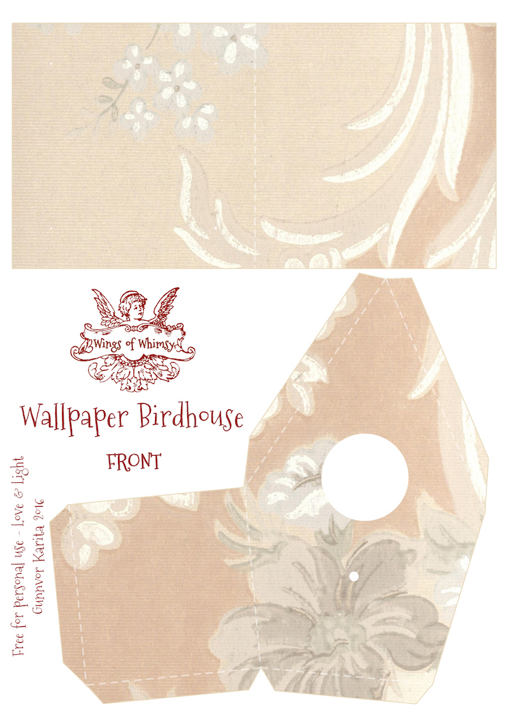 Wings of Whimsy: Wallpaper Birdhouse No 22 Front #vintage #ephemera #freebie #printable #wallpaper #bird #house