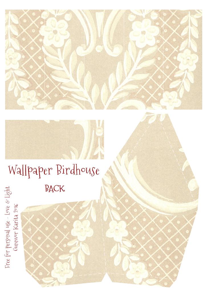 Wings of Whimsy: Wallpaper Birdhouse No 24 Front #vintage #ephemera #freebie #printable #wallpaper #bird #house