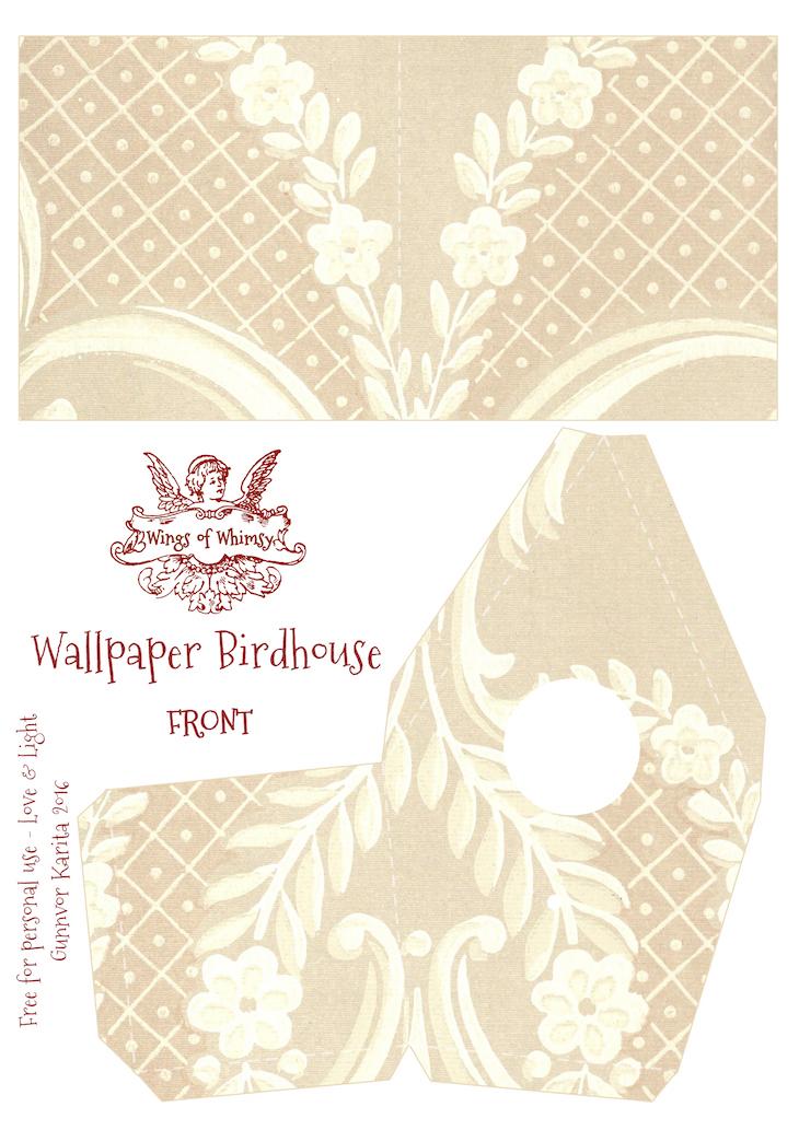 Wings of Whimsy: Wallpaper Birdhouse No 23 Front #vintage #ephemera #freebie #printable #wallpaper #bird #house