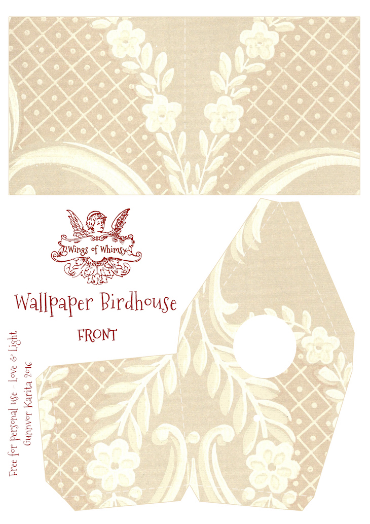 Wings of Whimsy: Wallpaper Birdhouse No 23 Front #vintage #ephemera #freebie #printable #wallpaper #bird #house