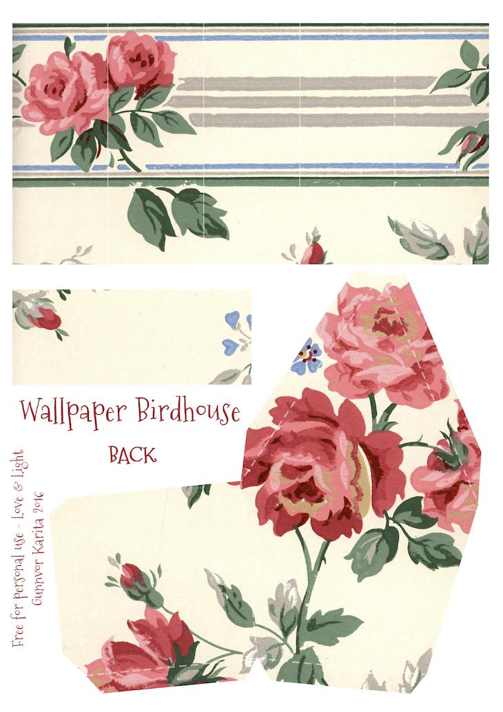Wings of Whimsy: Wallpaper Birdhouse No 24 Back #vintage #ephemera #freebie #printable #wallpaper #bird #house