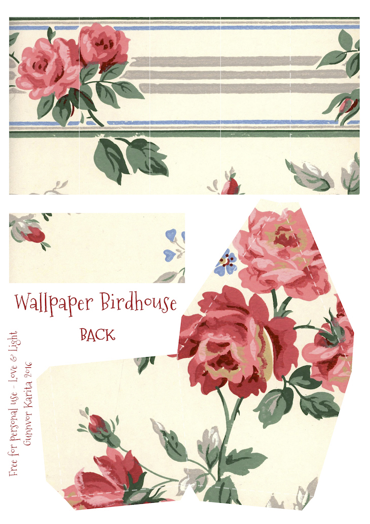 Wings of Whimsy: Wallpaper Birdhouse No 24 Back #vintage #ephemera #freebie #printable #wallpaper #bird #house