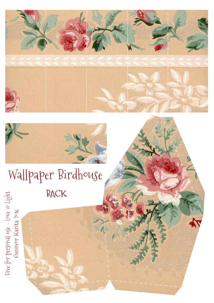 Wings of Whimsy: Wallpaper Birdhouse No 25 Back #vintage #ephemera #freebie #printable #wallpaper #bird #house