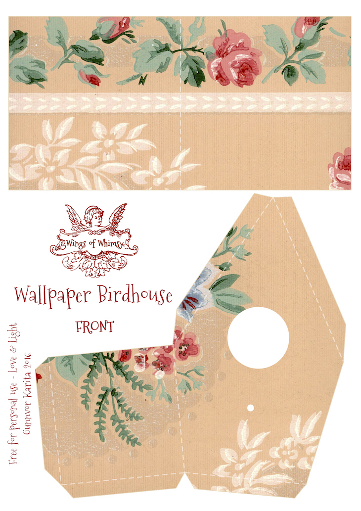 Wings of Whimsy: Wallpaper Birdhouse No 25 Front #vintage #ephemera #freebie #printable #wallpaper #bird #house