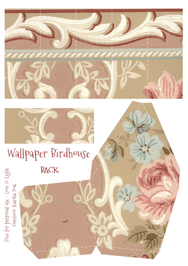Wings of Whimsy: Wallpaper Birdhouse No 26 Back #vintage #ephemera #freebie #printable #wallpaper #bird #house