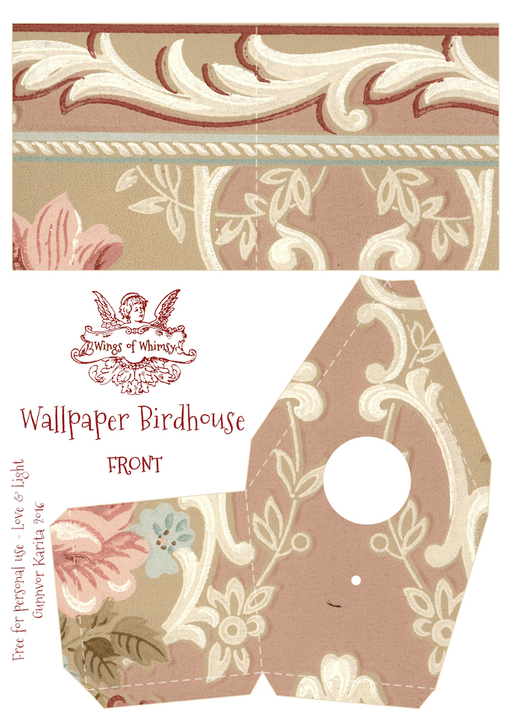 Wings of Whimsy: Wallpaper Birdhouse No 26 Front #vintage #ephemera #freebie #printable #wallpaper #bird #house