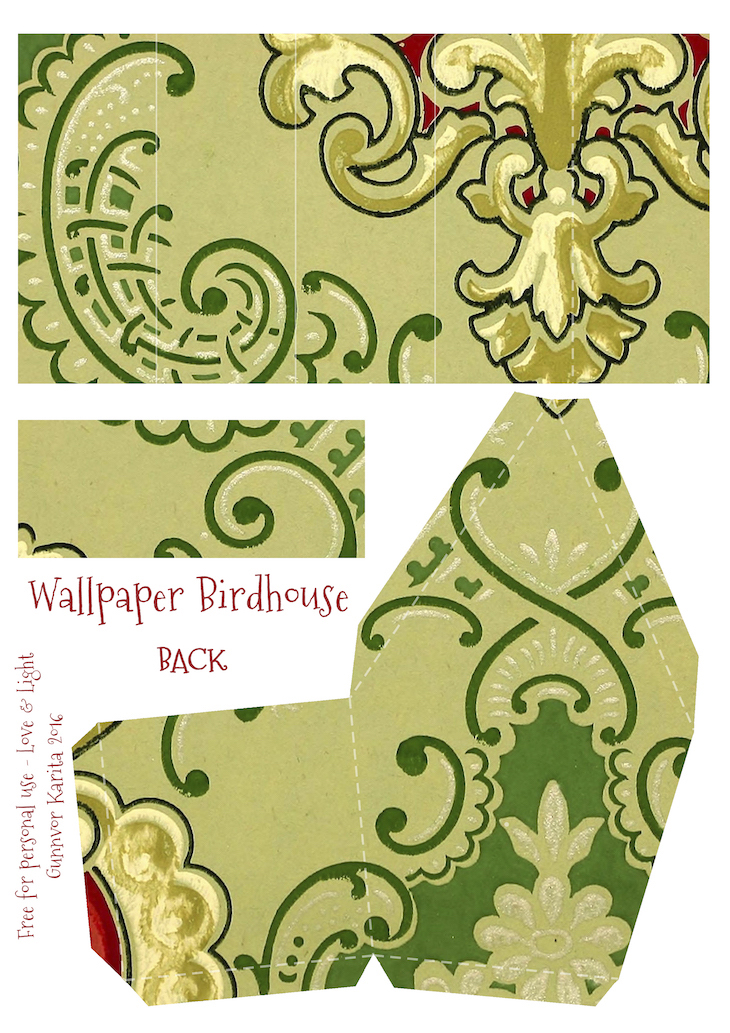 Wings of Whimsy: Wallpaper Birdhouse No 27 Back #vintage #ephemera #freebie #printable #wallpaper #bird #house
