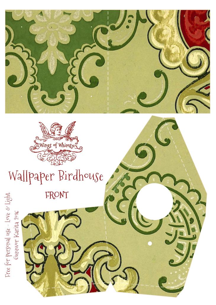 Wings of Whimsy: Wallpaper Birdhouse No 27 Front #vintage #ephemera #freebie #printable #wallpaper #bird #house