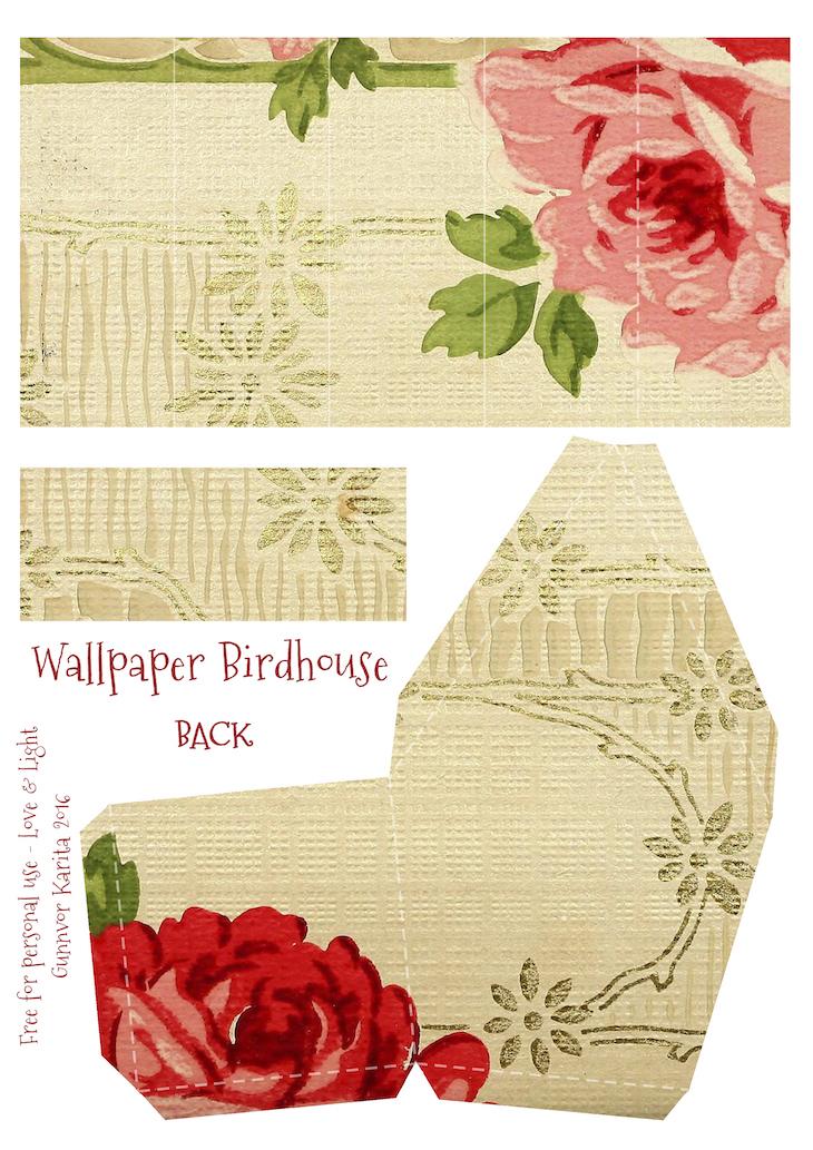 Wings of Whimsy: Wallpaper Birdhouse No 28 Back #vintage #ephemera #freebie #printable #wallpaper #bird #house