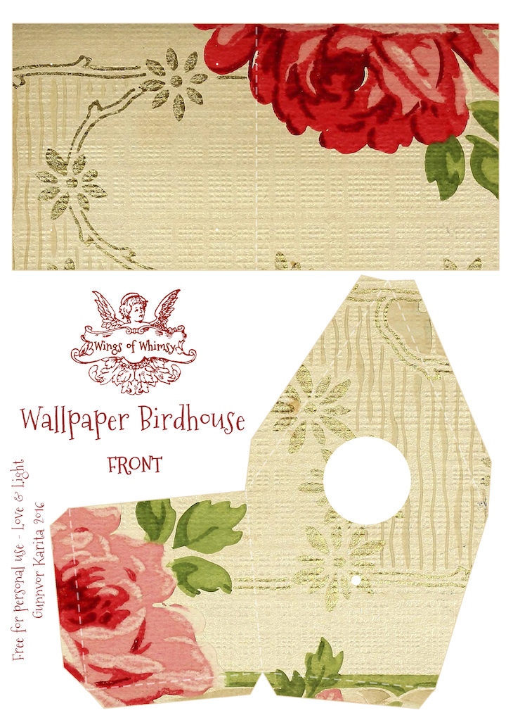 Wings of Whimsy: Wallpaper Birdhouse No 28 Front #vintage #ephemera #freebie #printable #wallpaper #bird #house