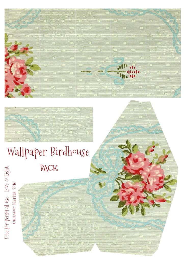 Wings of Whimsy: Wallpaper Birdhouse No 29 Back #vintage #ephemera #freebie #printable #wallpaper #bird #house