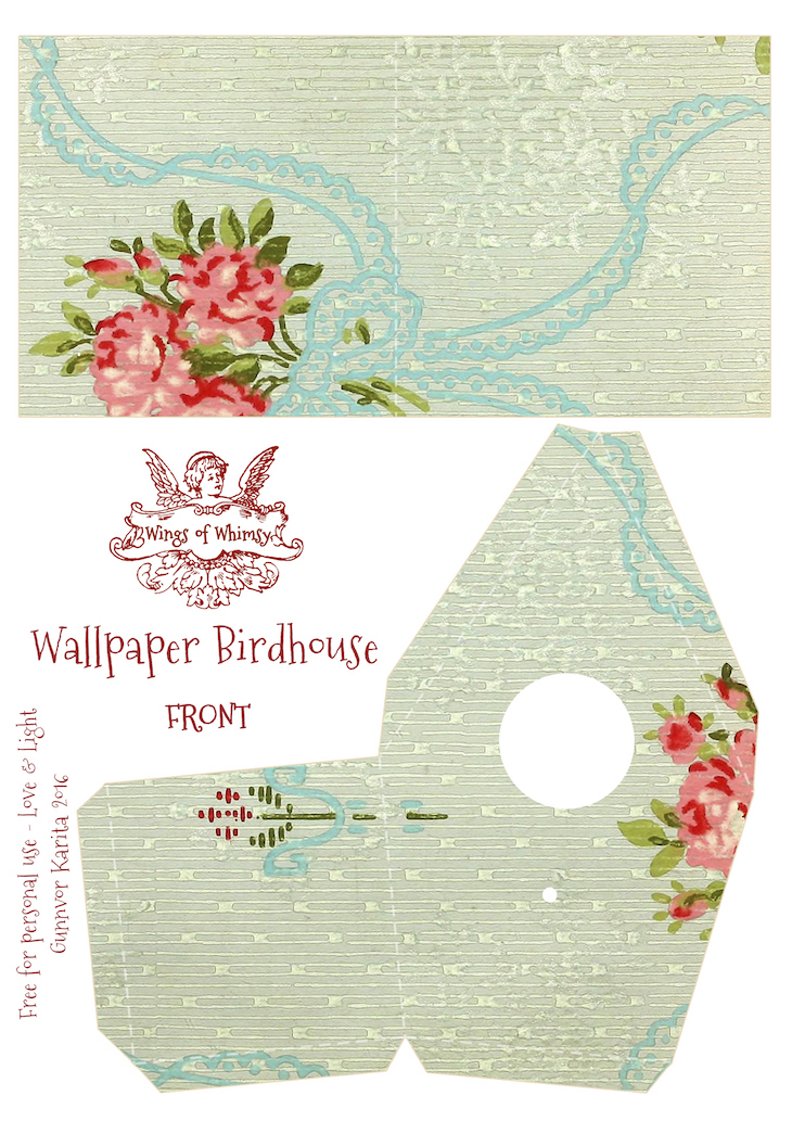 Wings of Whimsy: Wallpaper Birdhouse No 29 Front #vintage #ephemera #freebie #printable #wallpaper #bird #house