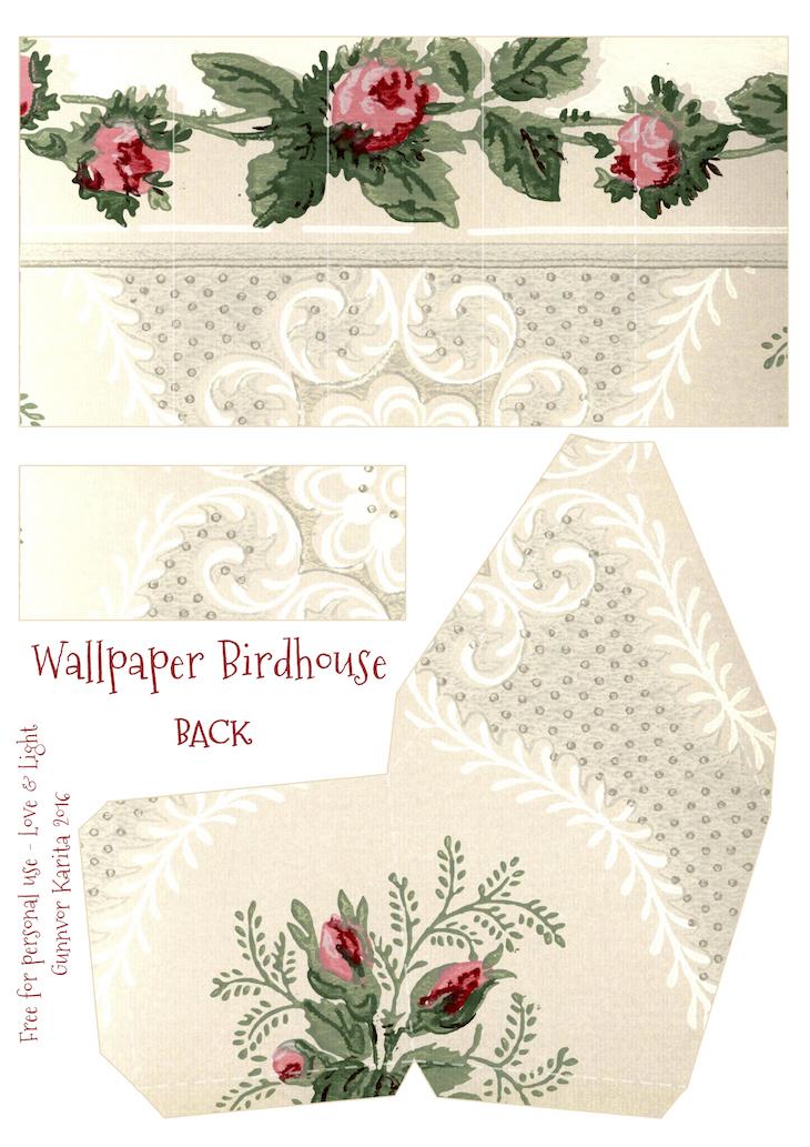 Wings of Whimsy: Wallpaper Birdhouse No 30 Back #vintage #ephemera #freebie #printable #wallpaper #bird #house