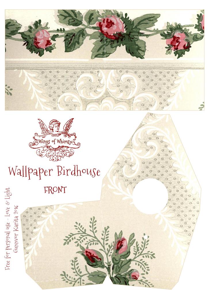 Wings of Whimsy: Wallpaper Birdhouse No 30 Front #vintage #ephemera #freebie #printable #wallpaper #bird #house