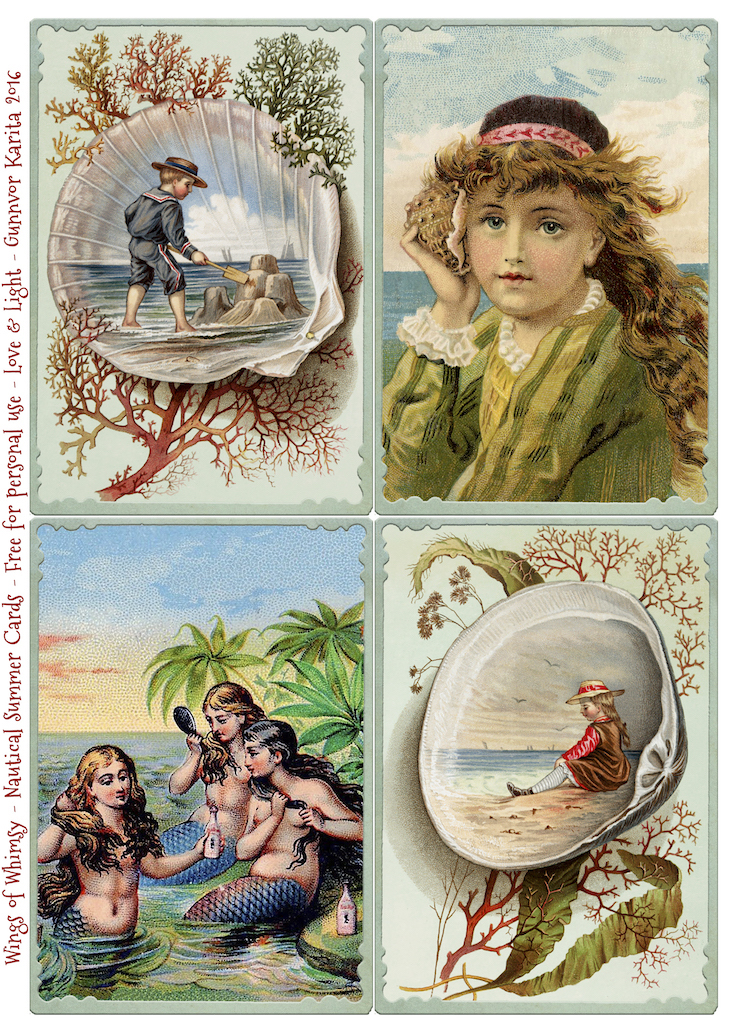 Wings of Whimsy: Nautical Summer Cards #vintage #freebie #printable #nautical #shell #children #summer #sea #mermaids