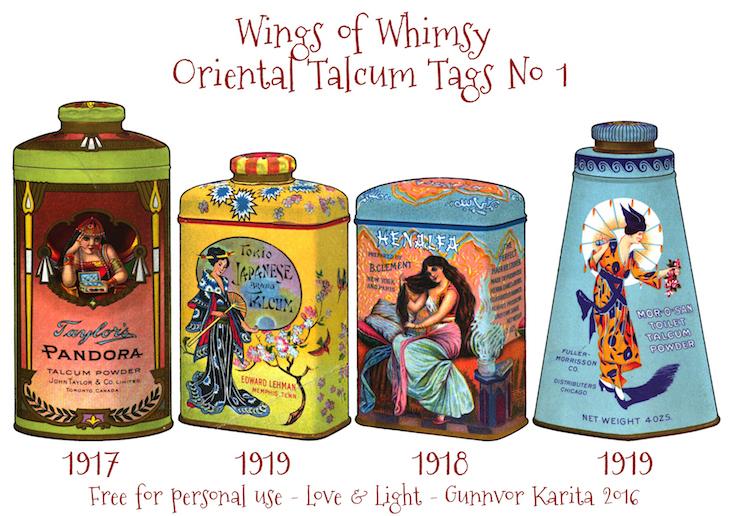 Wings of Whimsy: Vintage Oriental Tags No 1 #vintage #printable #freebie #ephemera #talcum #tags