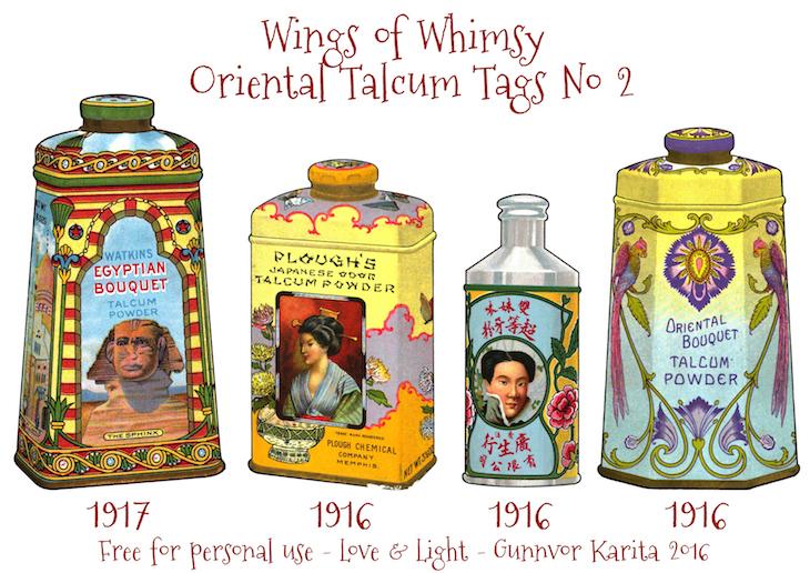Wings of Whimsy: Oriental Talcum Tags No 2 #vintage #printable #freebie #ephemera #talcum #tags