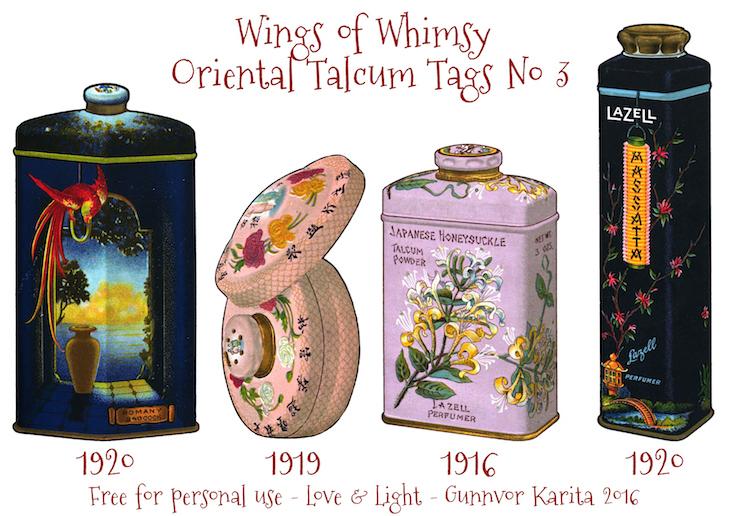 Wings of Whimsy: Oriental Talcum Tags No 3 #vintage #printable #freebie #ephemera #talcum #tags