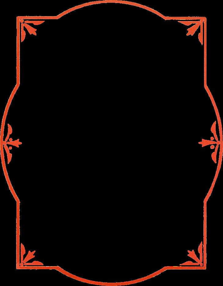 Wings of Whimsy: Red Border PNG-file (transparent background) #vintage #ephemera #freebie #printable #frame