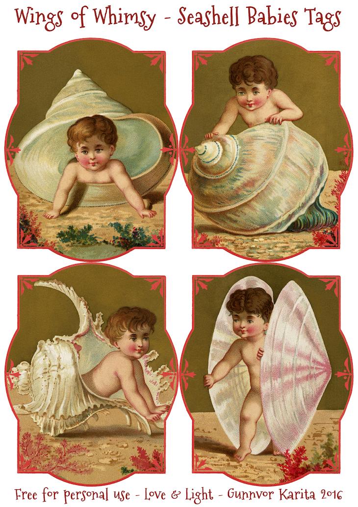 Wings of Whimsy: Seashell Babies Tags #vintage #ephemera #freebie #printable #tags #cherubs