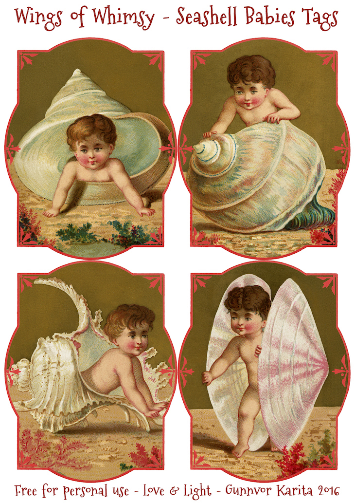 Wings of Whimsy: Seashell Babies Tags #vintage #ephemera #freebie #printable #tags #cherubs
