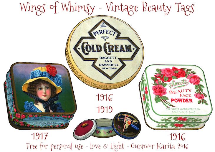 Wings of Whimsy: Vintage Beauty Tins Tags #vintage #printable #freebie #ephemera #talcum #beauty #tags